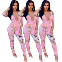 Sexy Deep V Neck Printed Pink Cotton One-piece Jumpsuits With Sewing A Jumpsuit
