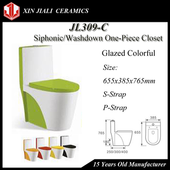 JL309-C Siphonic/Washdown Colorful Glazed One-Piece Toilet