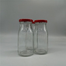 200ml clear empty round glass bulk milk /yoghurt bottles with metal lids color printing