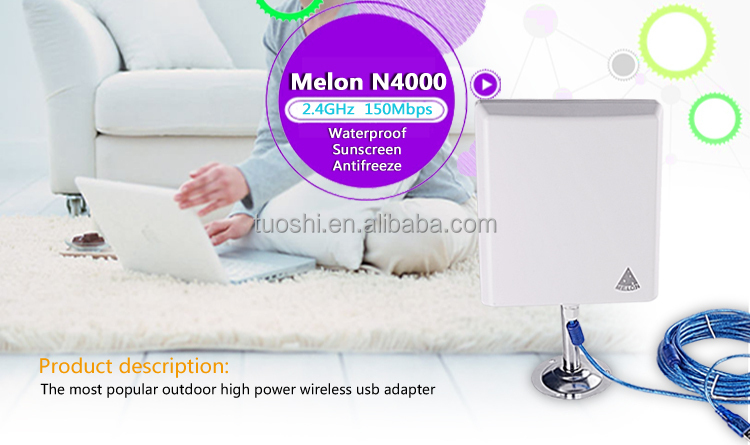 Melon N4000 Long Range Indoor Outdoor USB Wifi Wireless Adapter with