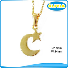 Alibaba com Custom Engraved 18k Gold Stainless Steel Star And Moon Pendant Necklace