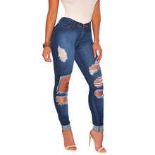 Fast delivery cheap women bulk wholesale denim damaged women jeans