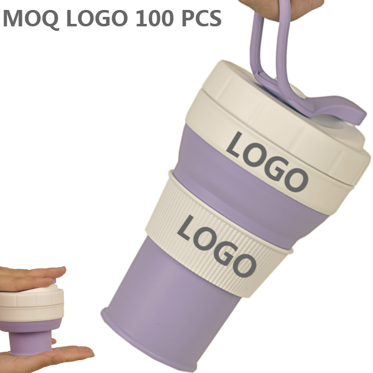 2018 New Customized Logo 450 ml Portable Eco Friendly Heat Resistant Flexible Silicone Collapsible Re usable Coffee <strong>Cup</strong> Band