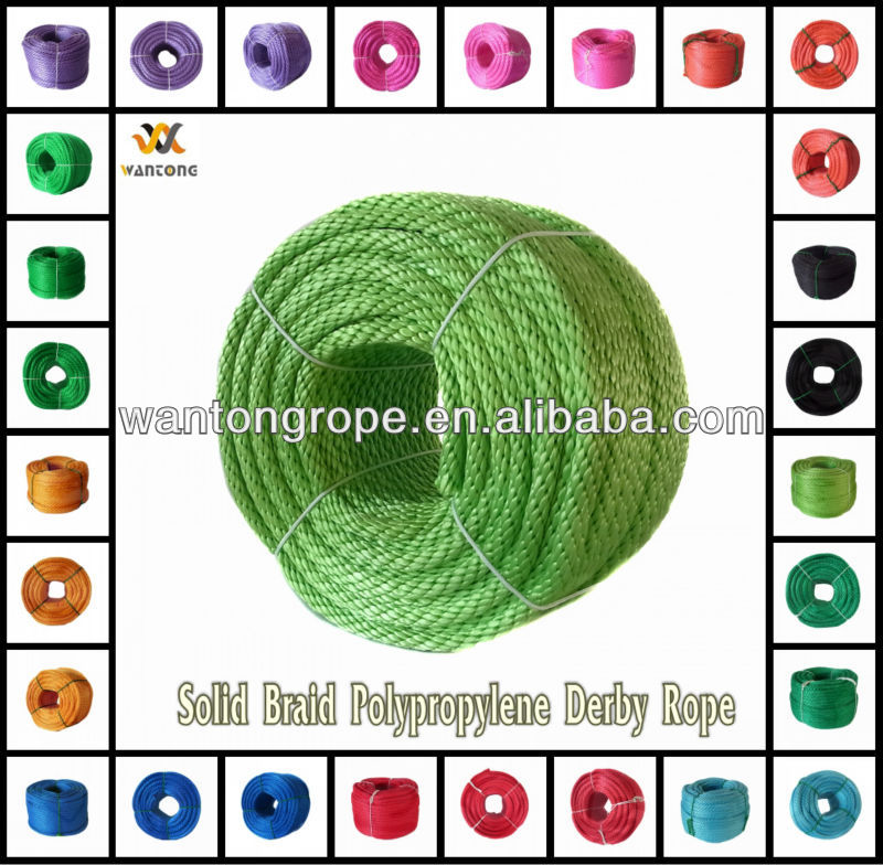 Colored Solid Braid Polypropylene Derby Rope