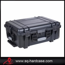 With rubber handle wheels hard plastic shockproof case for military Gear