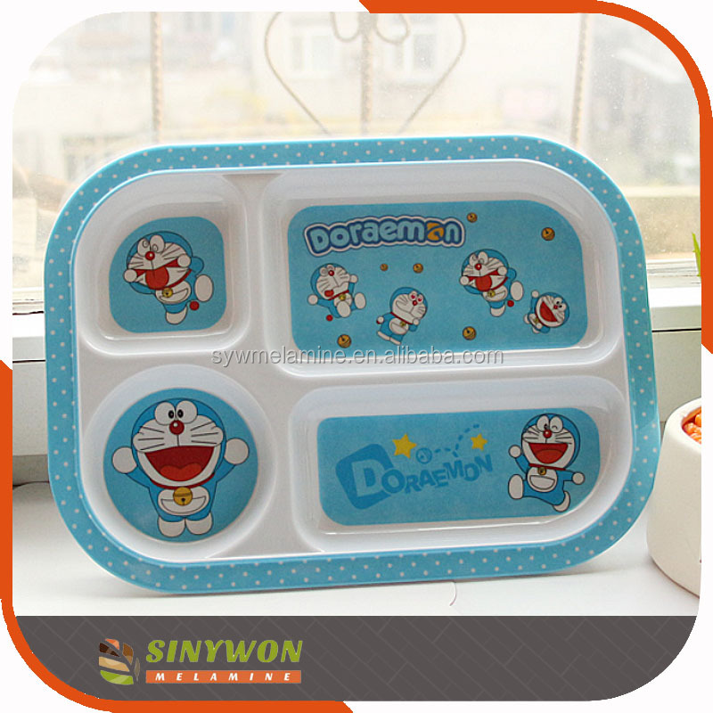 Custom Printing Melamine Kids Divided Plate Tray