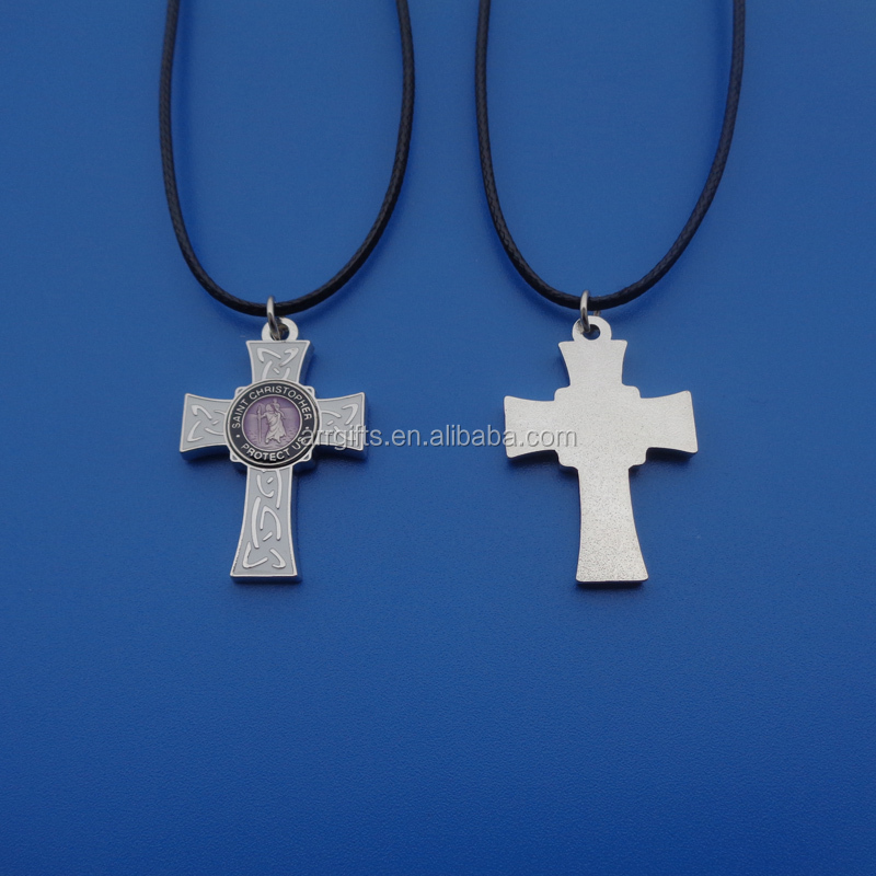Metal Silver Tone Cross Custom Saint Christopher Protector Medal Sticker Hanging Leather Necklace