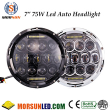 "7"" 75W DRL LED headlight for jeep jk, motorcycle spare parts 7"" hi/low beam led headlgihts, headlight led for jeep wrangler"