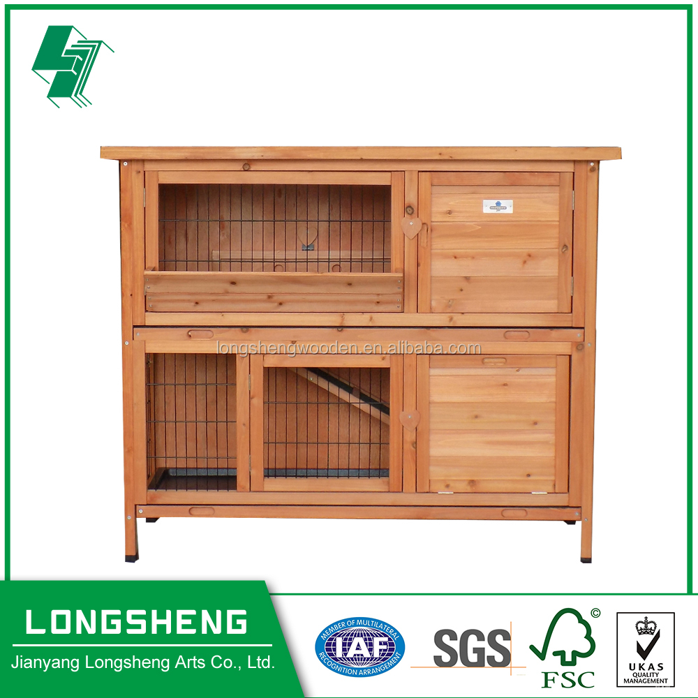Double Decker Wooden Rabbit Hutch with Feeder