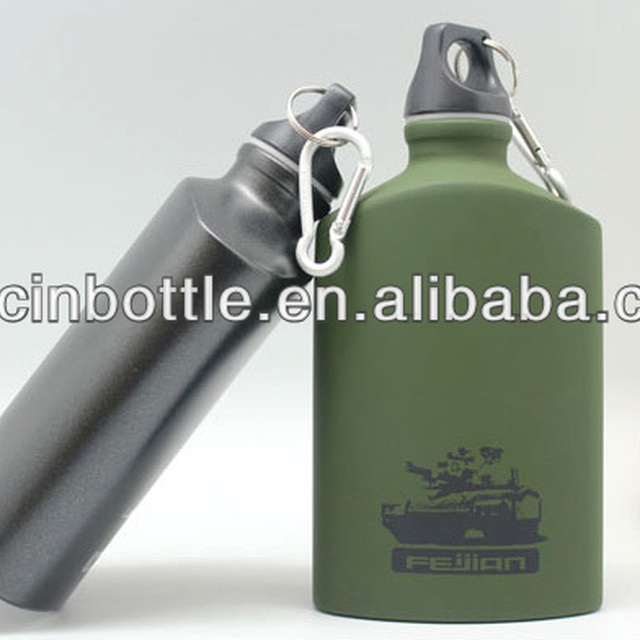 Portable flat shape Aluminum Bottle / Sports Aluminum Water Bottle, USA Army Aluminum Water Bottle with Carabiner