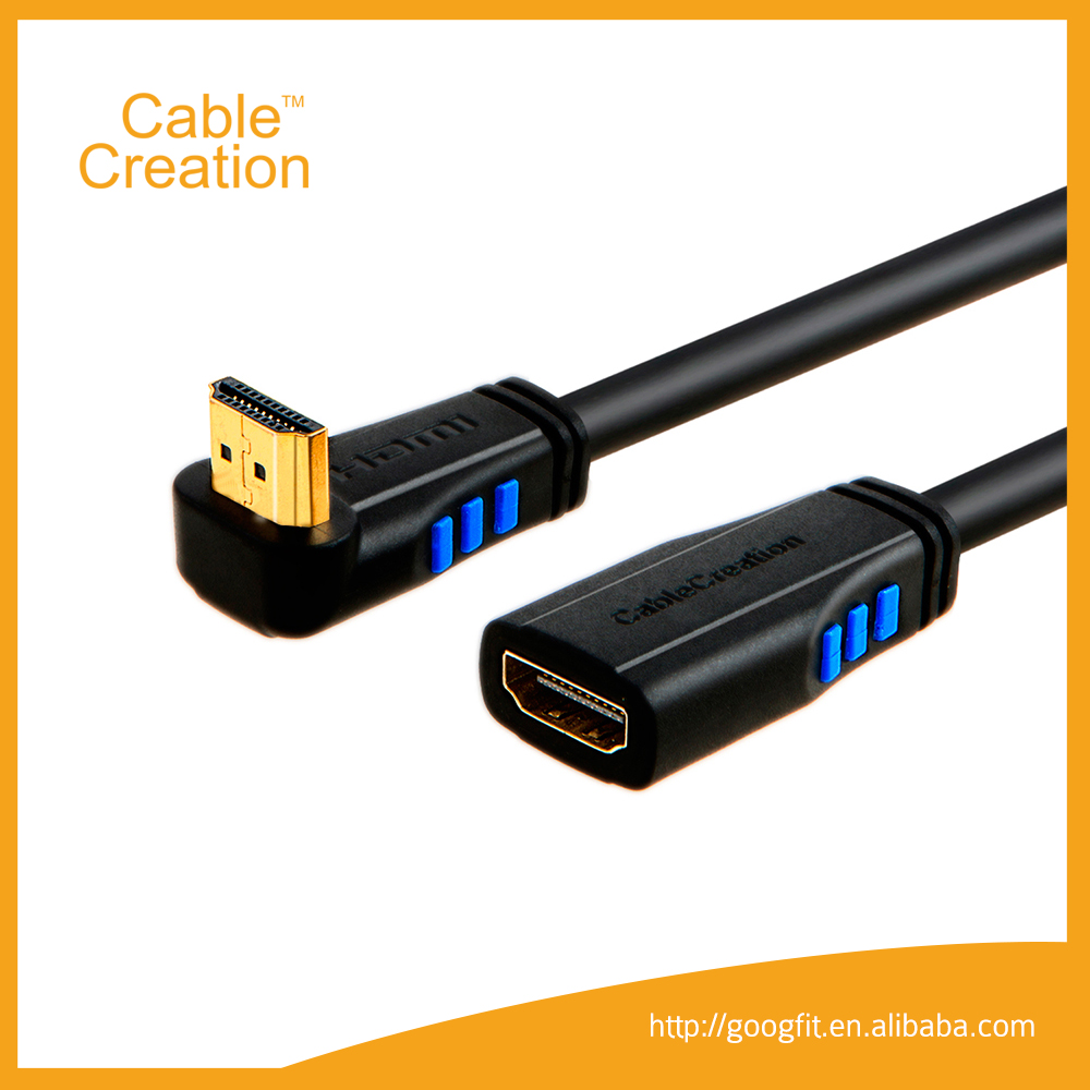 6 Feet Upward Angle Male- Female Gender Extension HDMI 2.0 Cable Support 3D Video Ethernet Audio Return Channel