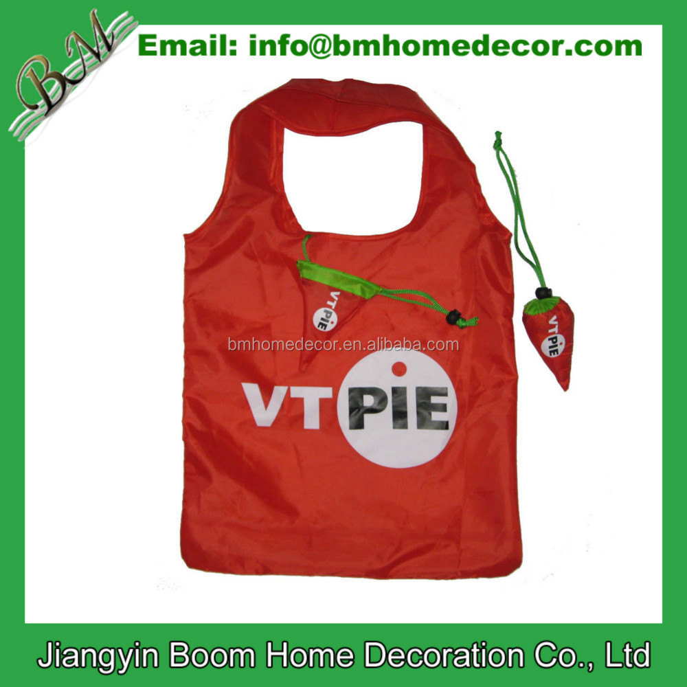 190T Polyester Cheap Promotional Reusable Grocery Hot Pepper Shape Foldable Shopping Bag