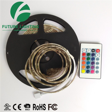 Flexible led strip light silicone coated IP62 waterproof 5050 <strong>RGB</strong> 60leds/m DC12V 5 meter length with adapter and 24 key remote
