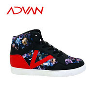 Patchwork PU Woman Shoes Lace-up High Cut Printed Shoes Ladies by Injection Tech