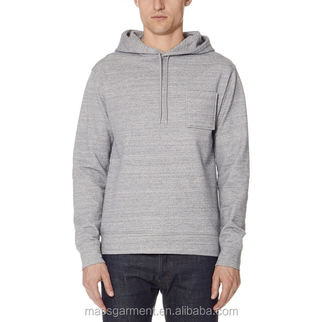 wholesale high quality mens plain grey hoodie with chest pocket