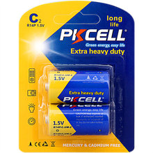 pkcell shrink package r14p c size um2 batteries 1.5 volt dry cell battery