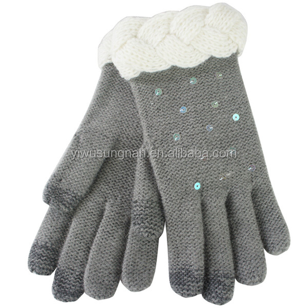 100% acrylic wholesale Daily Life Usage Screen Touch hand Knitting gloves