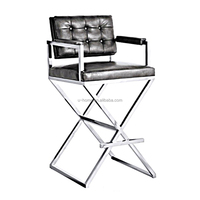 stainless steel and leather counter stool (SC1033S)