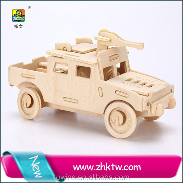custom children games wooden craft 3d car puzzle