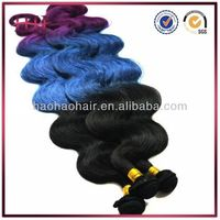 Loose body wave three tone ombre color blue brazilian virgin remy hair weft