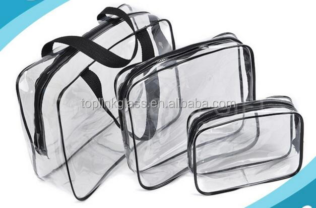 Zipper Top Clear Mini PVC Cosmetic Handle Clear PVC Messenger Bag