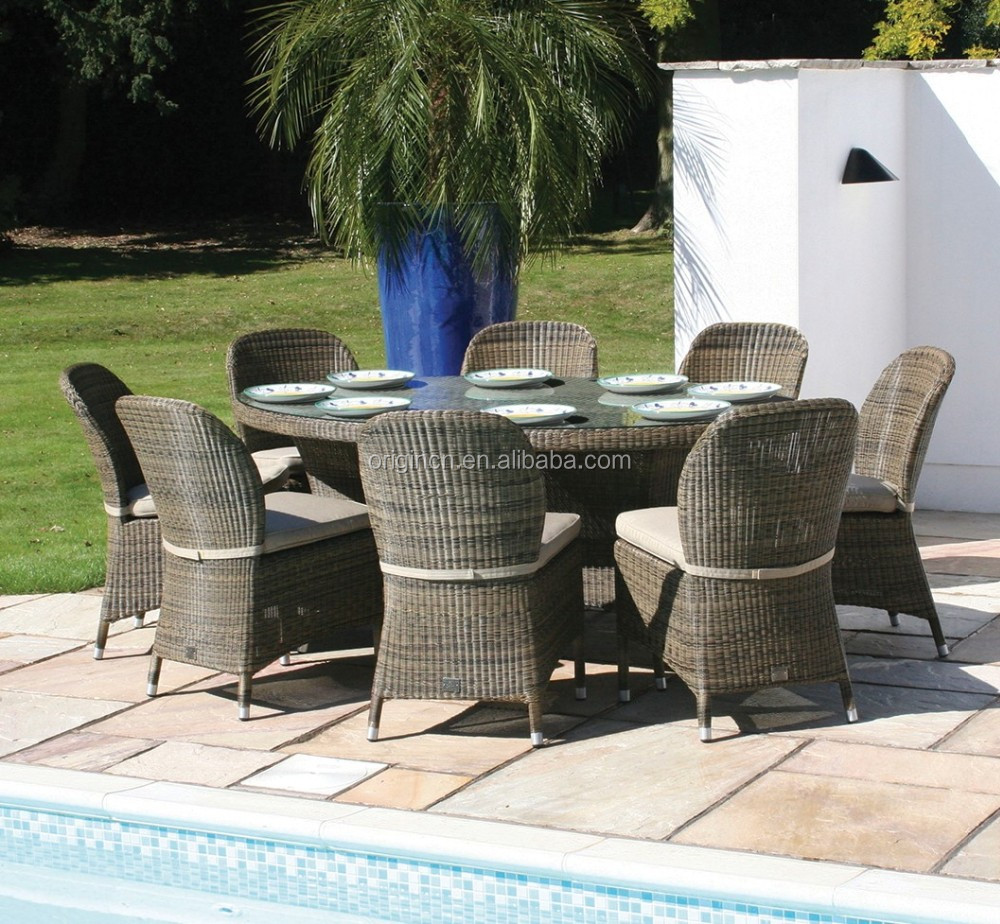 Home swimming pool party dinner wicker chair furniture outdoor patio italian dining table