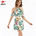 Halter Printed Mini Beach Cover Up Dresses 2018