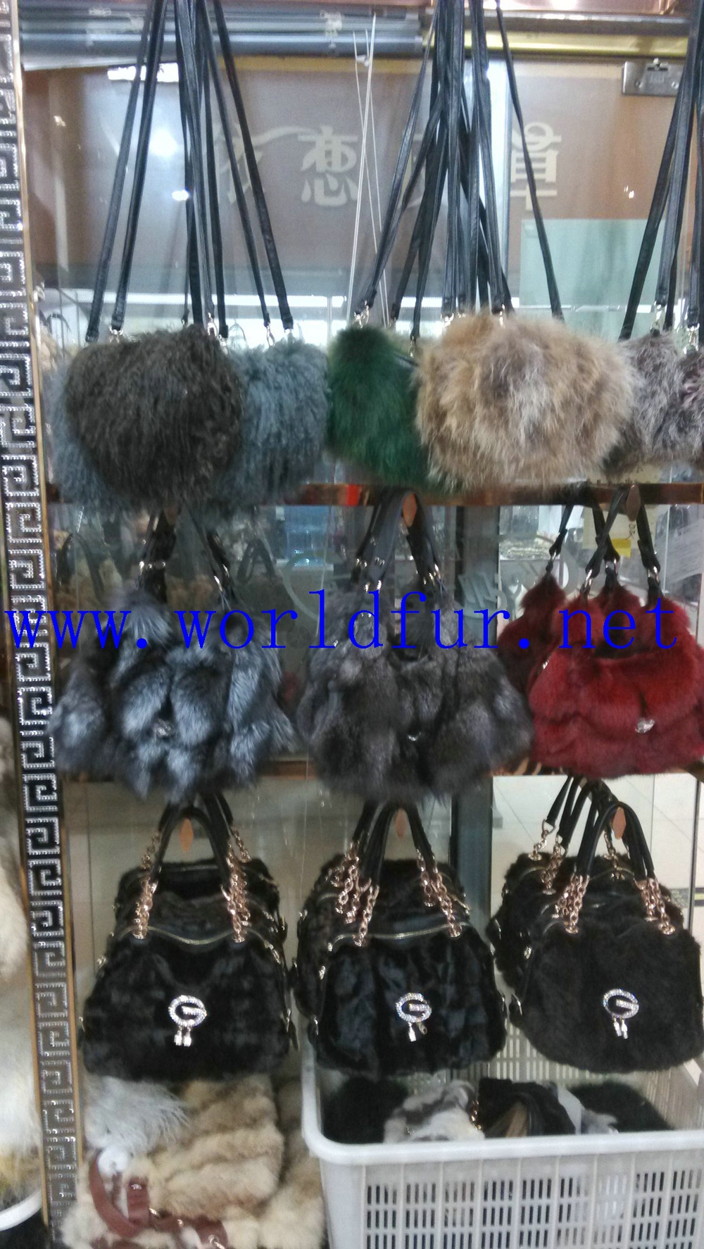 Fox fur tote bag, fox fur bag, mink fur bag 20140923