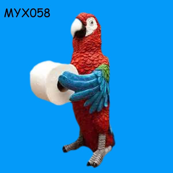 Fresh new product polyresin parrot toilet paper holder