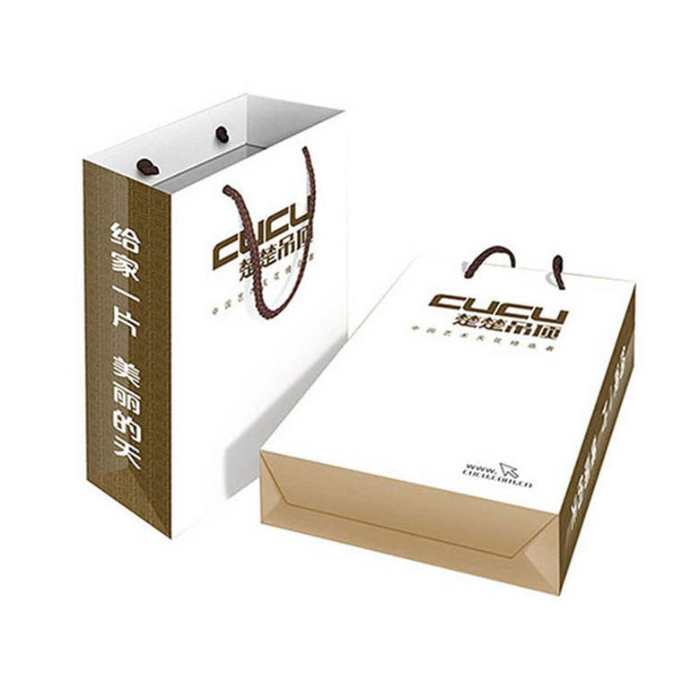 Oem production white cardboard paper shopping bag
