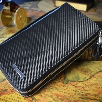 Large capacity Business Purse Genuine Leather Hot Carbon fiber Home and businesss Carbon Fiber Money Clip Leather