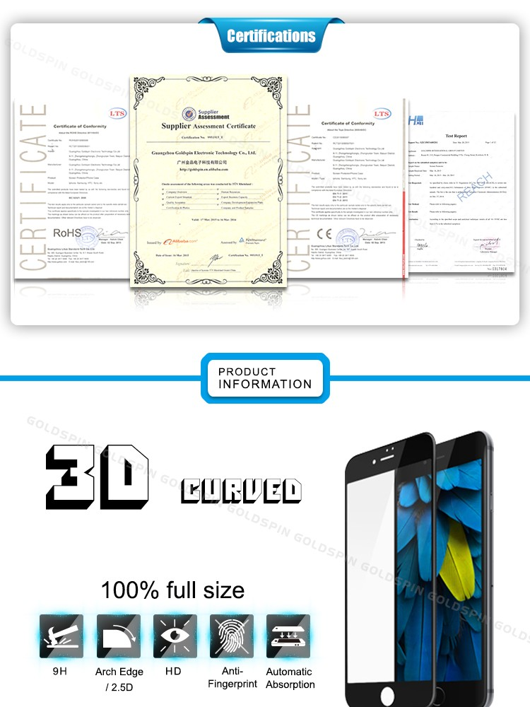 Japanese Asahi Glass! 3D Full Cover Tempered Glass Screen Protector For iPhone 6