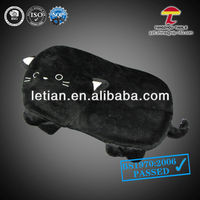 medium hot water bag with animal fleece cover black honey cat shape