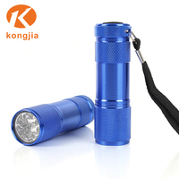 Promotional AAA Battery Colorful Aluminum Ultra Bright Mini 9Led Lights Flash