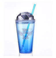 16oz durable best quality plastic diamonds tumbler mug with electroplate lid