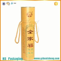 Round paper tupe wine cardboard carrying box with handle