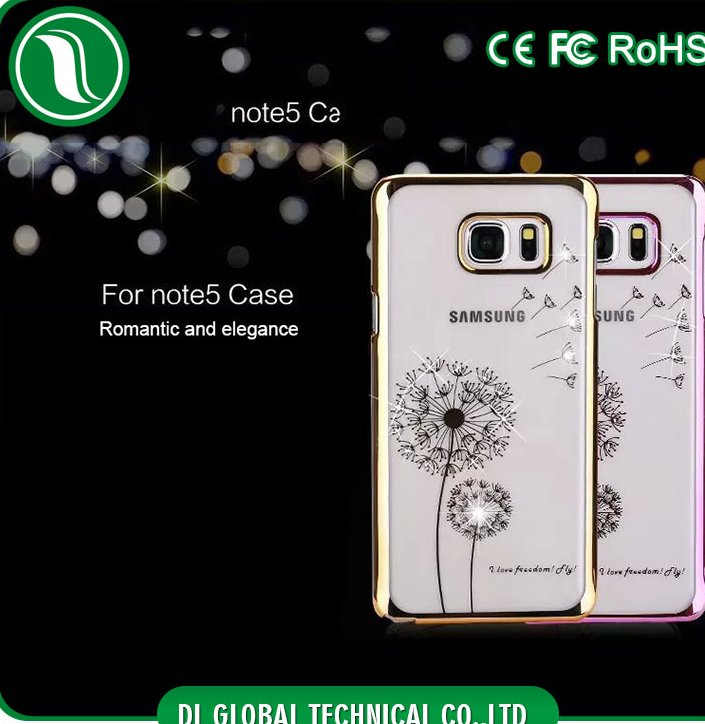 Fancy mobile phone case for samsung galaxy note 5 with dandelion and diamond decoration for galaxy note 5 case clear view cover