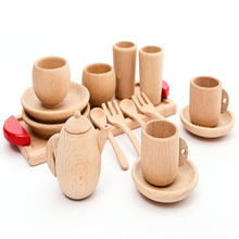 Wholesale simulation mini tableware solid beech wood toy for <strong>kids</strong>