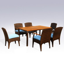 Outdoor patio aluminium wood rattan dining furniture