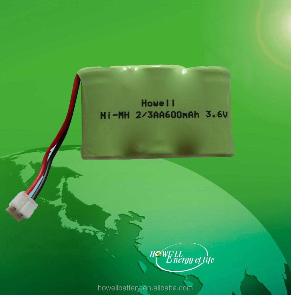 High Quality 3.6V 2/3AA 600mah Nickel Metal Hydride Battery