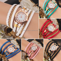 Korean Fashion New Dress Color Ladies Bracelet Watches Woman Casual Knit Long Leather Quartz Watch BWL009