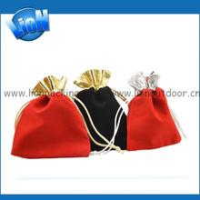 OEM Wholesale Colored custom made printing blue samll jewelry velvet drawstring pouch for gifts