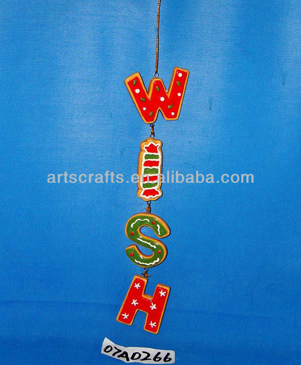 Christmas tree hanging ceramic WISH ornament