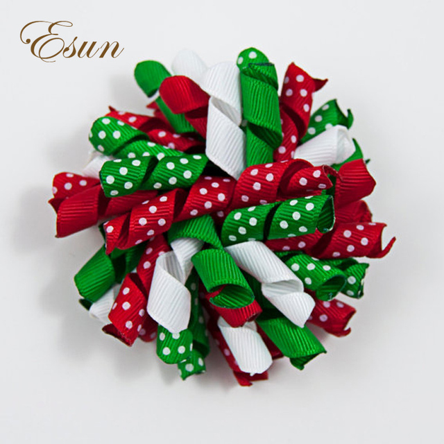 Hot Sale Red Green Christmas Korker Holiday Hair Bow