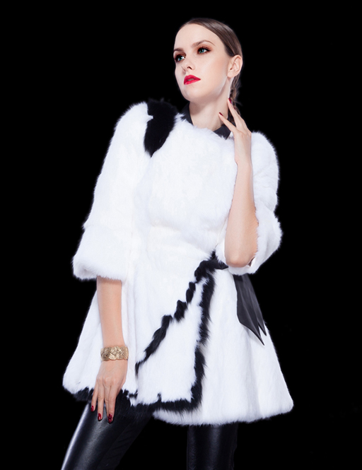 Janefur Lady's Fashion Rabbit Fur Long Coat Dress /Wholesale And Retail