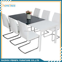 Modern rectangle Extended glass dining table/dining room furniture