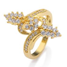 High quality reasonable price yellow gold ring plated spica shape cubic zirconia ring