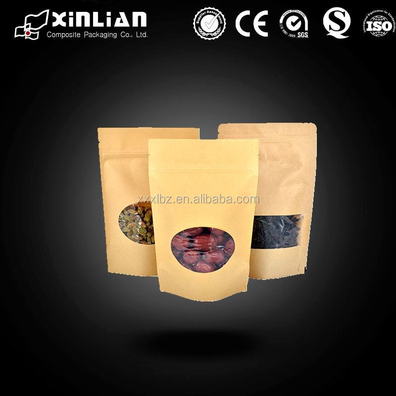 Stand up pouch/Kraft paper bag with zipper top/Nuts packaging bag