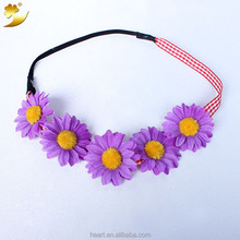 Latest cheap simple cute sunflower elastic hairband headband with plaid ribbon for girls, party flower hair decorations 02056