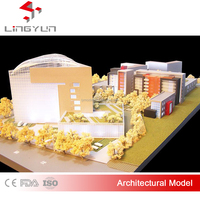 Custom acrylic architectural building scale model with lamplight manufacturer